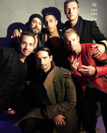Backstreet Boys with Balmain designer Olivier Rousteing. Credit: Backstreet Boys.